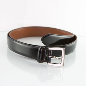 "Men's COACH Belt 40"" Black Leather Silver Buckle"